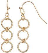 Lauren Conrad Textured Triple Circle Link Linear Earrings