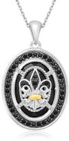 Ice 18K Yellow Gold & Sterling Silver Rock Crystal and Black Diamond Pendant