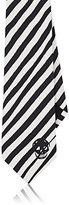 Alexander McQueen Men's Zebra-Striped Necktie-BLACK