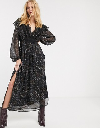 Object maxi dress with volume sleeves and side split in black floral