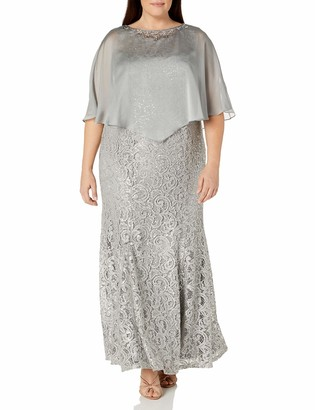 Ignite Evenings Women's Plus Size Sequined Lace Gown Dress