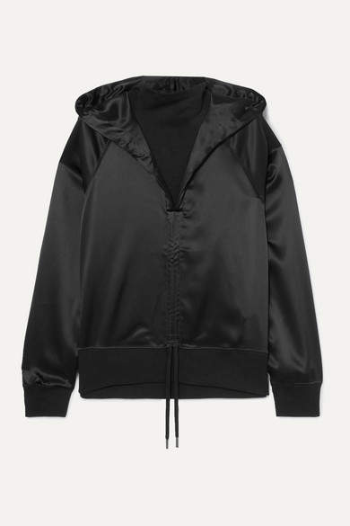 Palm Angels Ruched Satin And Cotton-terry Hoodie - Black
