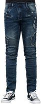 ililily man ililily Men Slim Fit Stretch Biker Vintage Distressed Blue Jean Pants