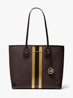 MICHAEL Michael Kors MK Eva Large Logo Metallic Stripe Tote Bag - Brn/gold - Michael Kors