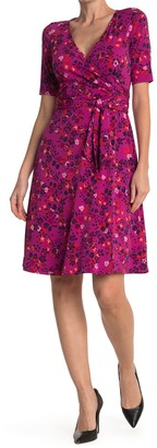 Donna Morgan Floral Short Sleeve Wrap Dress