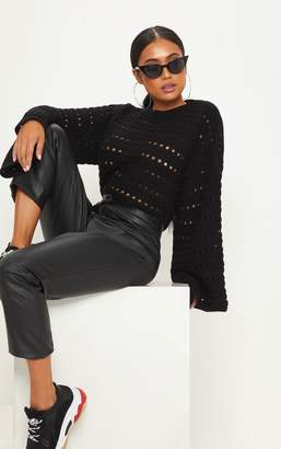 PrettyLittleThing Petite Black Flared Sleeve Jumper