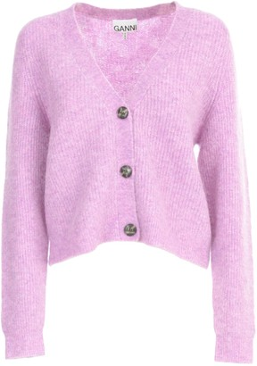 Ganni Soft Wool Knit L/s Sweater W/buttons