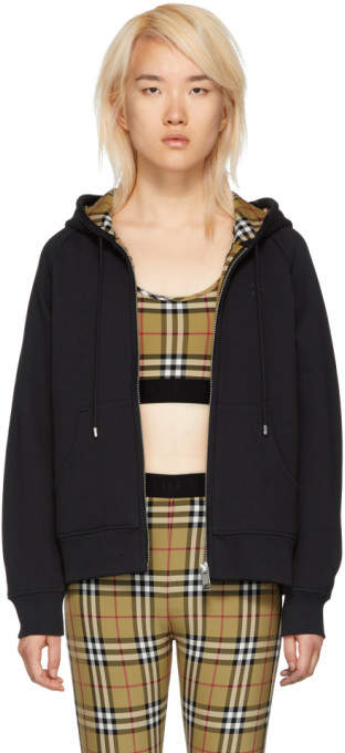 Burberry Black Check Jersey Hoodie