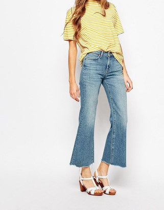MiH Jeans Lou Crop Bell Bottom Jeans With Raw Edge