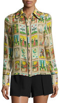 Alice + Olivia Alfie Tarot Card Shirt with Piping, Multicolor