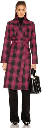 GRLFRND Taylor Midi Trench Coat in Black & Pink Plaid   FWRD