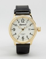 Ingersoll Apsley Automatic Leather Watch In Black