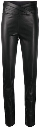 Patrizia Pepe Faux Leather Slim Fit Trousers With Wrap Waist