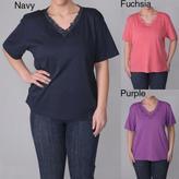 ADI Designs Women's Plus Size Embellished Neck Tee