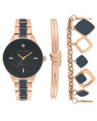 Anne Klein Women's Genuine Diamond Dial Rose Gold-Tone and Navy Blue Watch with Bracelet Set