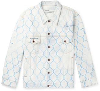 Off-White Off White Oversized Printed Bleached Denim Jacket