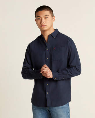 Farah Button-Down Twill Long Sleeve Sport Shirt