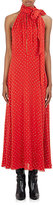 Saint Laurent Women's Glitter-Dot-Embellished Crepe Midi-Dress-RED