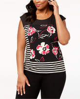 Calvin Klein Plus Size Mixed-Print Top