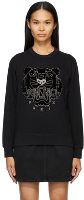 Kenzo Black Velvet Tiger Head Sweatshirt