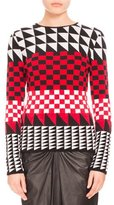 Altuzarra Geometric-Print Pullover Sweater, Scarlet
