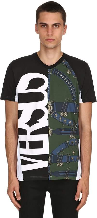 Versus Belts & Logo Print Cotton Jersey T-Shirt