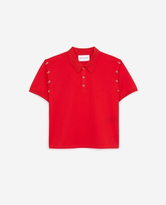 The Kooples Red cotton polo with piercings