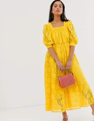 Sister Jane midaxi smock dress in lace-Yellow