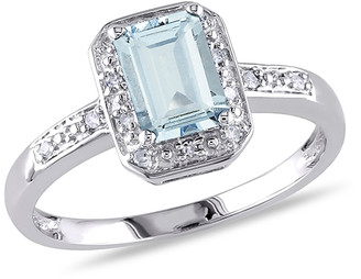 Sofia B Women's Rings Aqua - Aquamarine & Diamond Emerald-Cut Ring