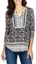 Lucky Brand Printed Cotton Blend Tunic
