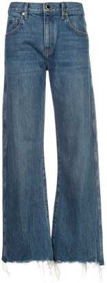 KHAITE Kerrie cropped distressed jeans