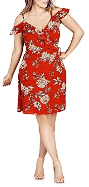 City Chic Plus City Chic Wild Floral Cold-Shoulder Dress