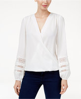 INC International Concepts Petite Lace-Detail Surplice Top, Only at Macy's
