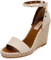 Valentino Rockstud Double Espadrille Wedge Sandal, Light Ivory