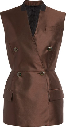 Givenchy Peplum Double Breasted Wool & Silk Vest