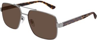 Gucci Men's Tortoiseshell Sunglasses with Signature Web
