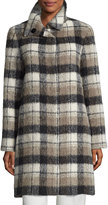 Sofia Cashmere Plaid Alpaca-Blend Coat, White/Black