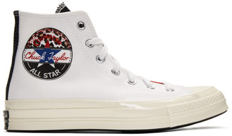 Converse White and Red Logo Play Chuck 70 High Sneakers