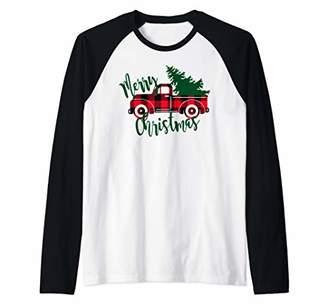 Buffalo David Bitton Plaid Red Truck Women's Christmas Vintage Christmas Raglan Baseball Tee