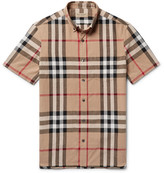Burberry Button-down Collar Checked Linen And Cotton-blend Shirt - Beige