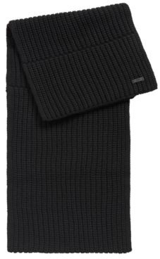 HUGO BOSS Logo Badge Scarf In Mixed Structures - Black