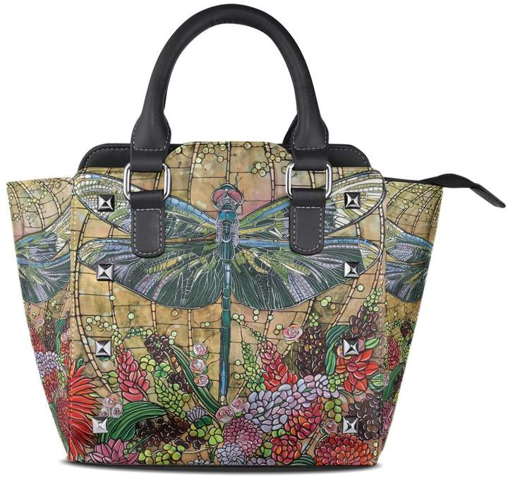 98c727b5fdf4 DEYYA Ladies Retro Dragonfly PU Leather Shoulder Bags Top-Handle Handbag  Tote Crossbody Bag Large