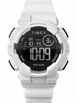 Timex Unisex TW5M23700 DGTL Mako Digital 44mm White/Black Silicone Strap Watch