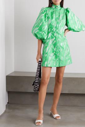 Ganni Crystal-embellished Jacquard Mini Dress - Light green
