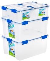 Iris Ziploc WeatherShield Storage Box - 4 PC Stacking Set-16 Qt & 60 Qt
