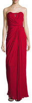 Badgley Mischka Strapless Draped Gown