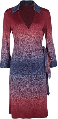 Diane von Furstenberg Ophelia Printed Silk Jersey Justin Wrap Dress L