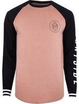 River Island Pink Graphic Print Raglan Long Sleeve T-shirt