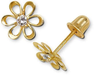 Curata 14k Yellow or White Gold Cubic Zirconia Small Open Daisy Flower Screw-Back Earrings