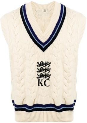 Kent & Curwen V-neck logo jumper
